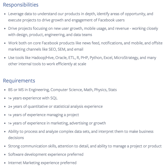 "How To Land A Career In A Different Field (Even If You Aren't ""Qualified"") - Facebook Growth Marketing Analyst Job Description"