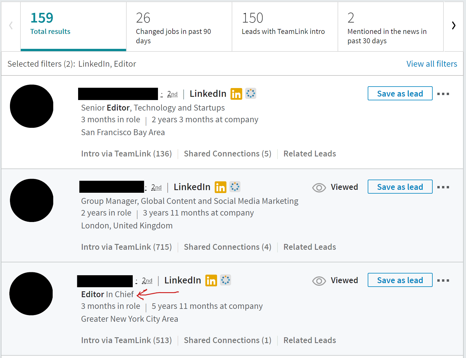 LinkedIn Sales Navigator Screenshot