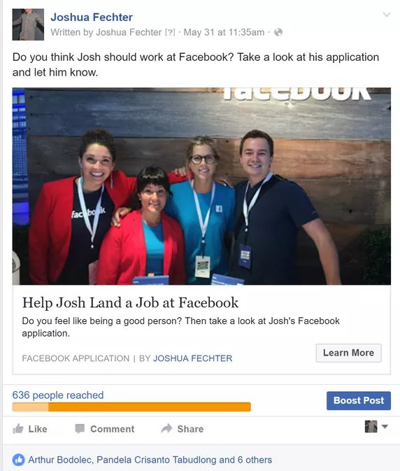 Josh Fechter Facebook Ad Screenshot