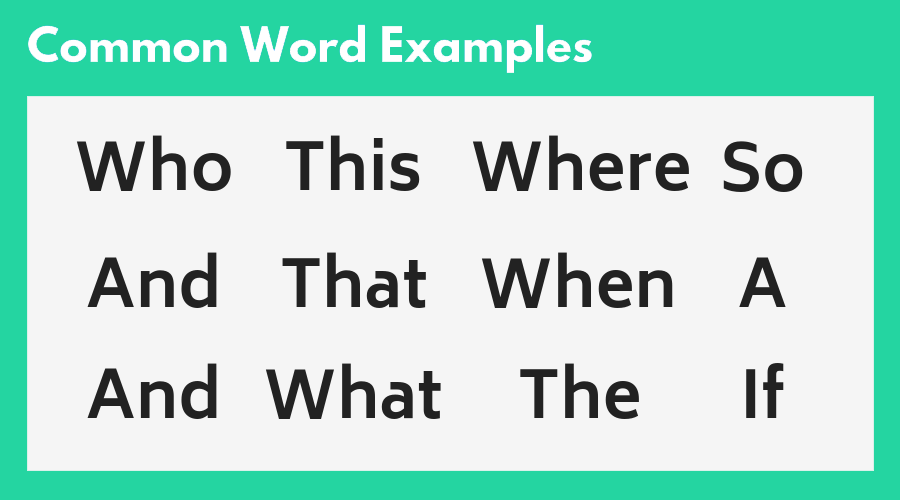Common Resume Word Examples Chart