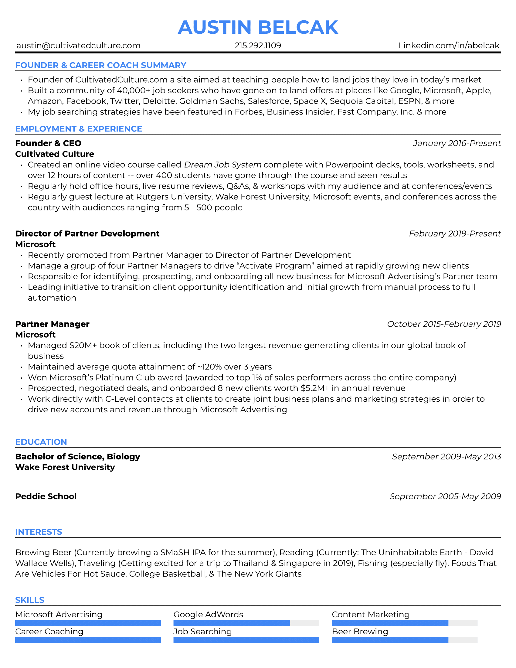 Example of Austin's resume with different font colors