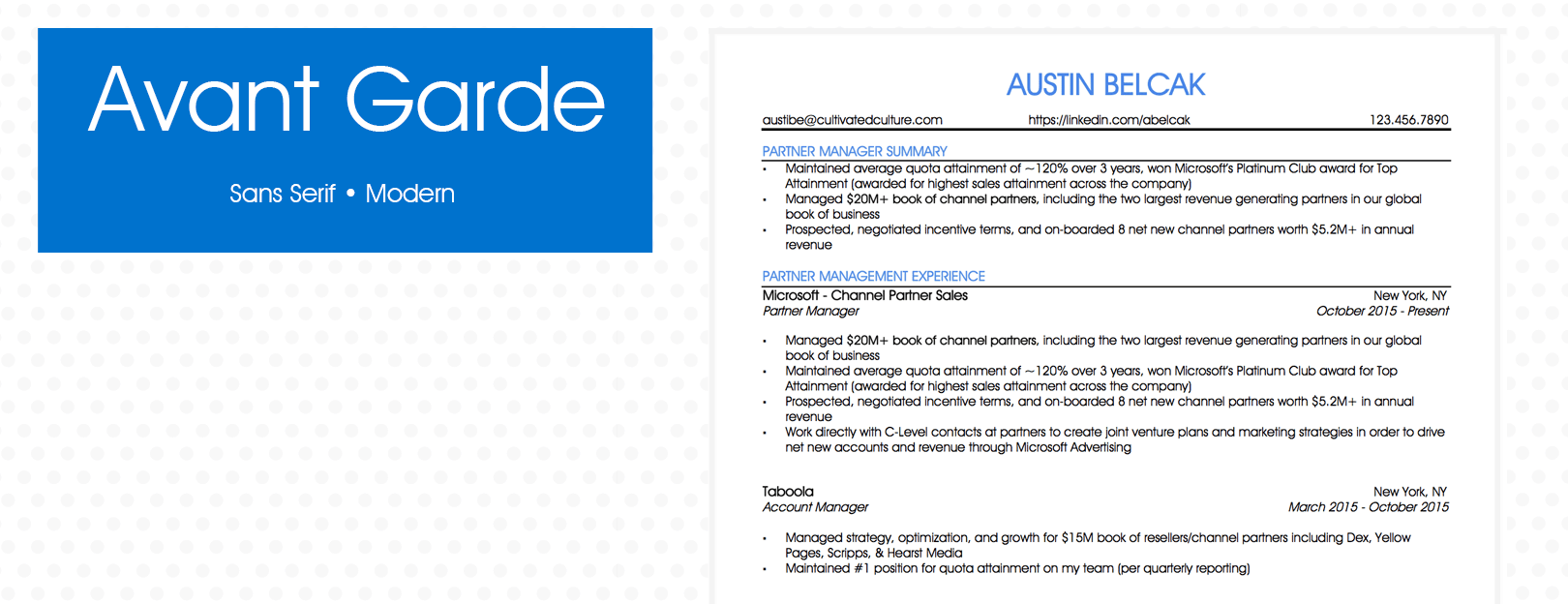 Example of Avant Garde Font For Resume - Cultivated Culture