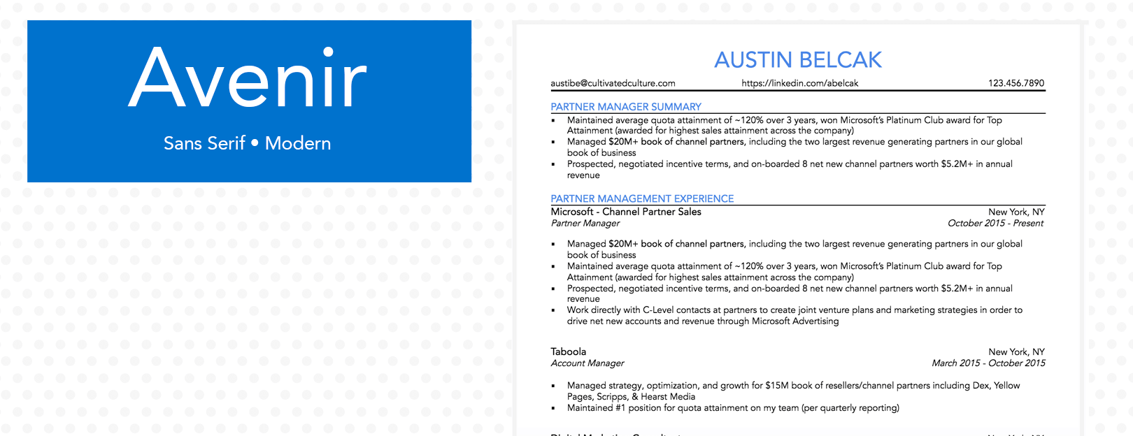 Example of Avenir Font For Resume - Cultivated Culture