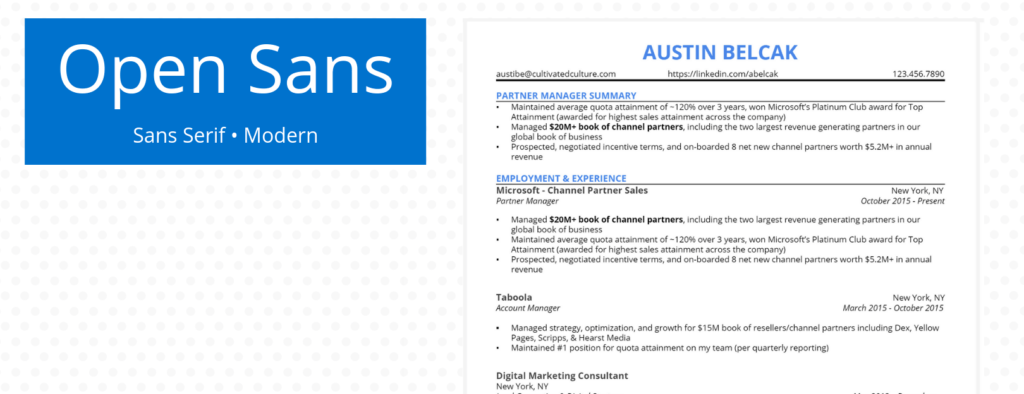 Example of Open Sans Font for Resume
