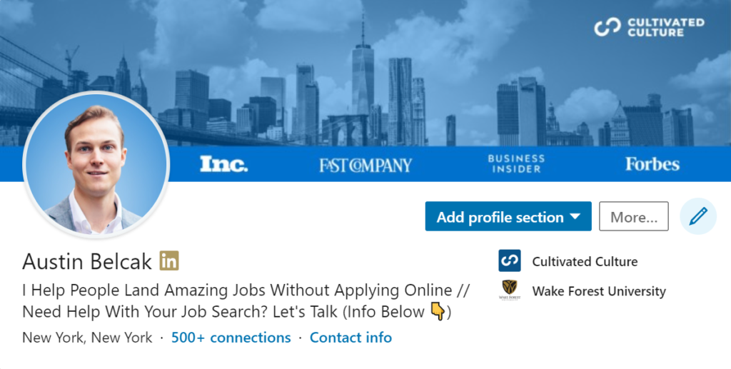 LinkedIn Cover Photo Example on Desktop - Cultivated Culture