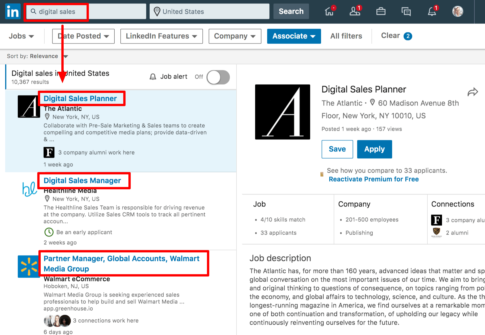 Screenshot of LinkedIn Job Board