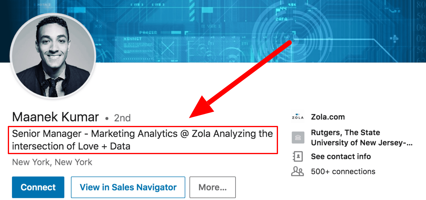 Screenshot of great LinkedIn headline example