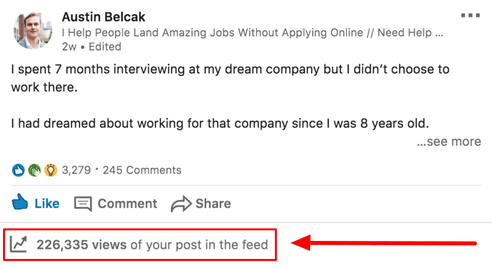 Screenshot of recent LinkedIn post