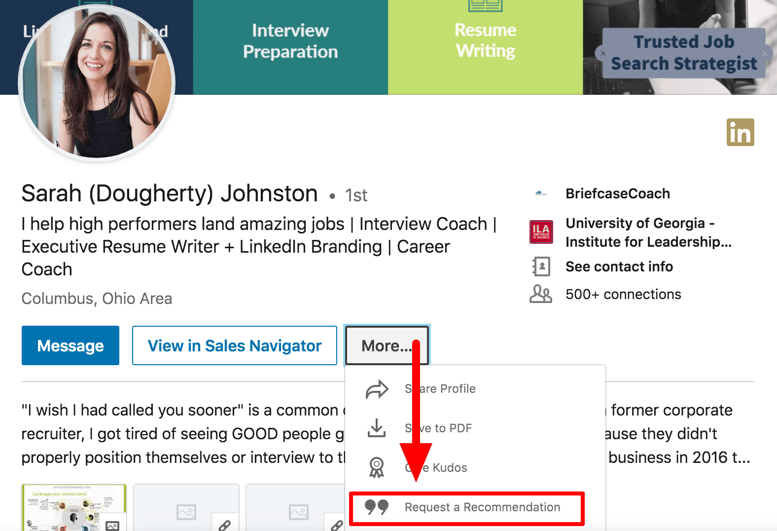 Where to find LinkedIn recommendation request