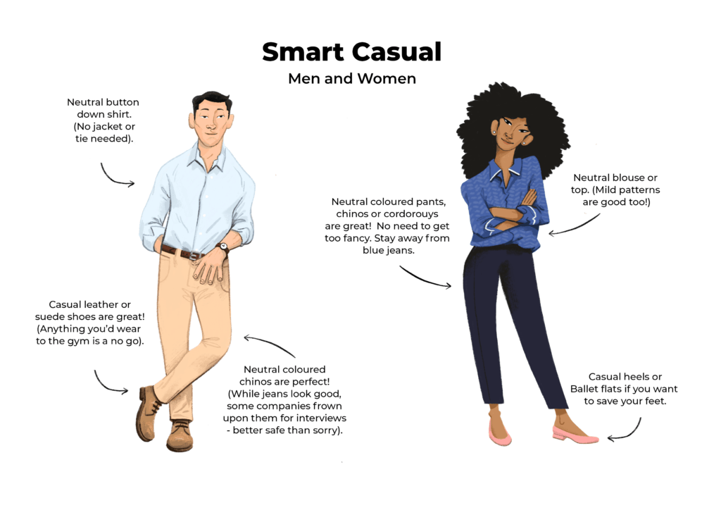 examples of smart casual interview attire for men  women