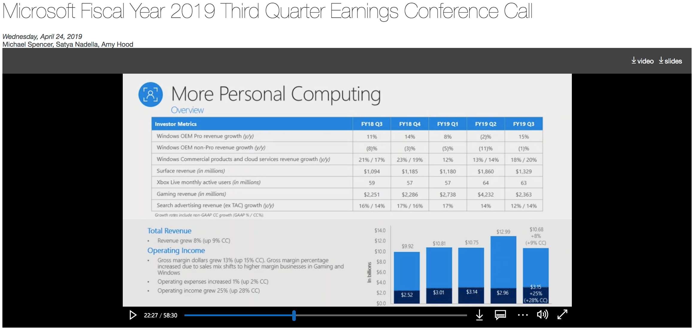 Screenshot of Microsoft Quarterly Earnings Webcast To Research Answers To Phone Interview Questions