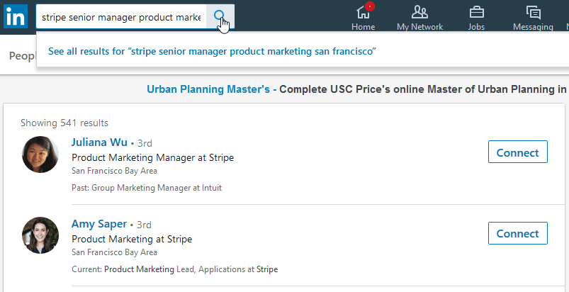 Screenshot of a search on LinkedIn for product marketing employees at Stripe