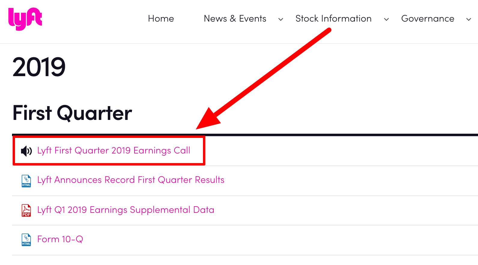 Screenshot of Lyft's investor relations page with quarterly earnings calls for research on why do you want to work here answer