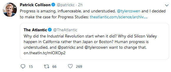 Screenshot of a tweet from Stripe founder Patrick Collinson