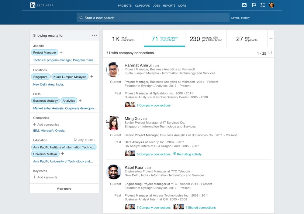 Screenshot of LinkedIn Recruiter Search Results