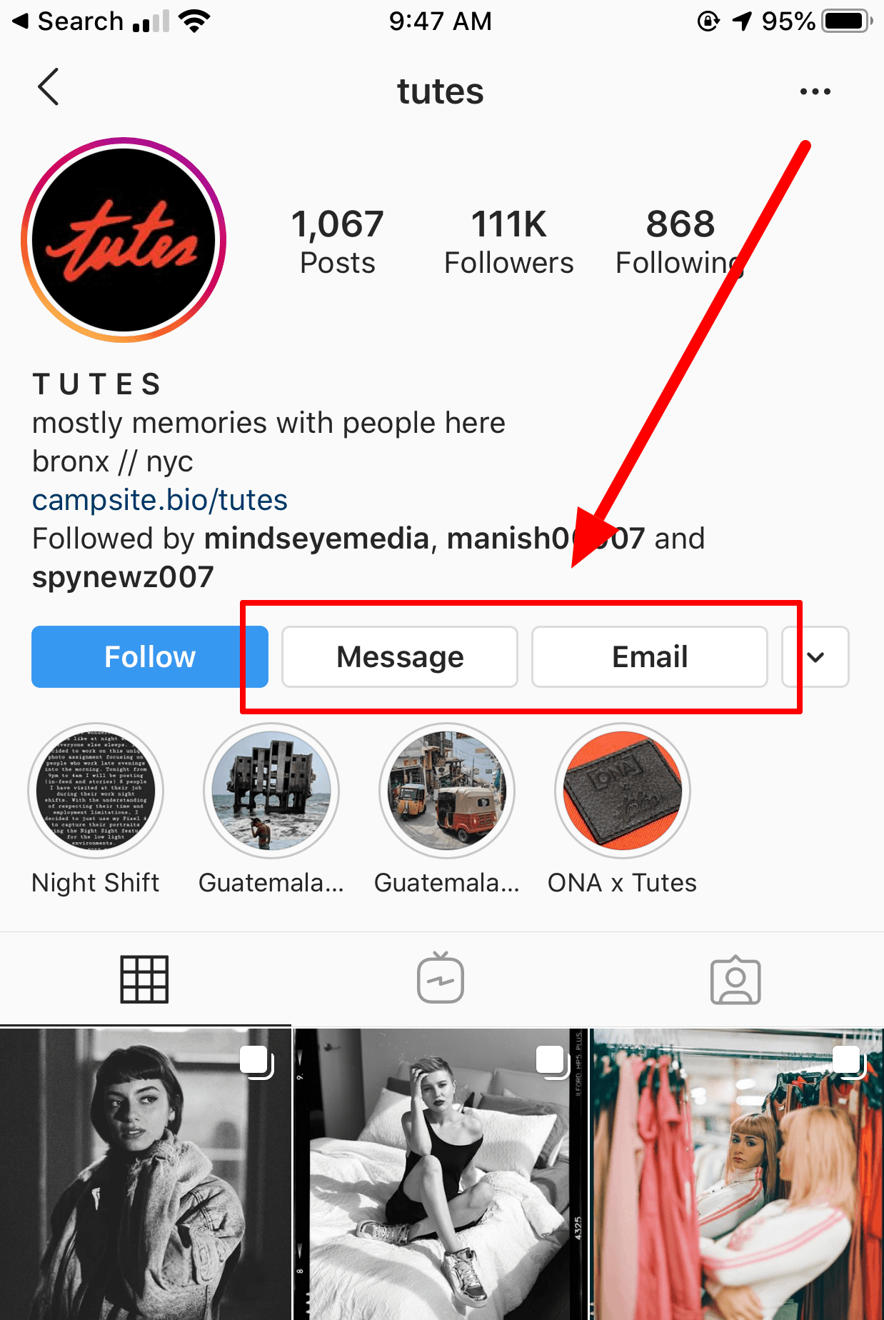 Screenshot of Message and Email features on Instagram Profile