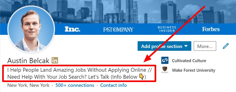 Austin Belcak LinkedIn Headline Example