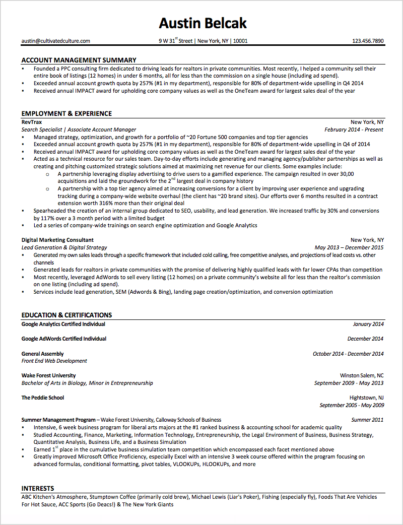 Austin's Resume Example Used At Microsoft & Google