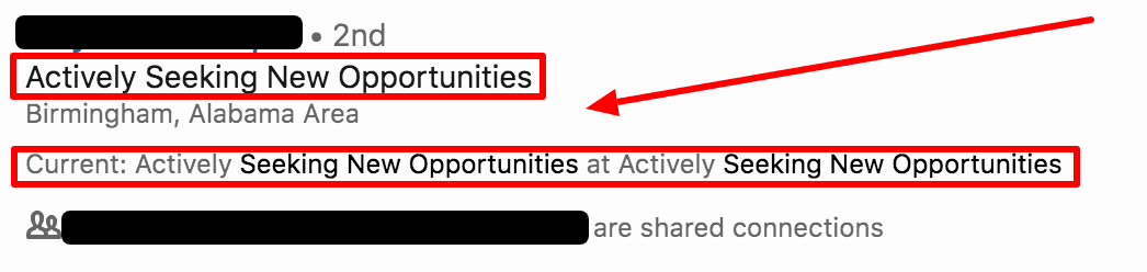 LinkedIn Headline Mistake - Actively Seeking Opportunities