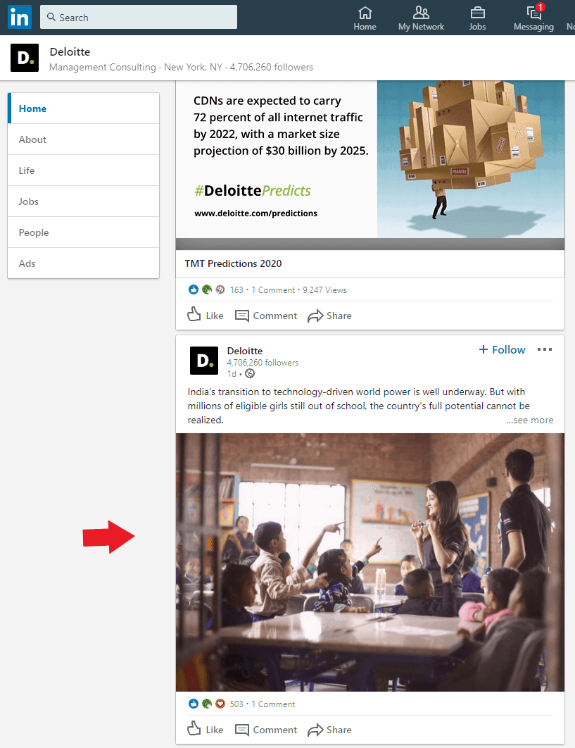Example of Company LinkedIn Page With Pictures of Employees