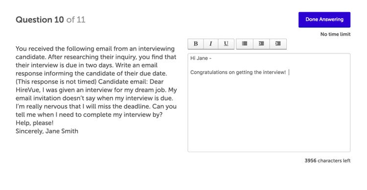 Example of Video Interview Questions In Written Form
