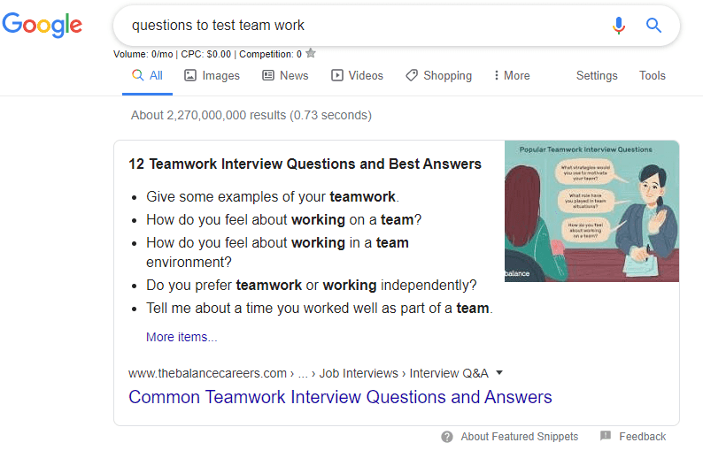 Google search for interview questions to test skills