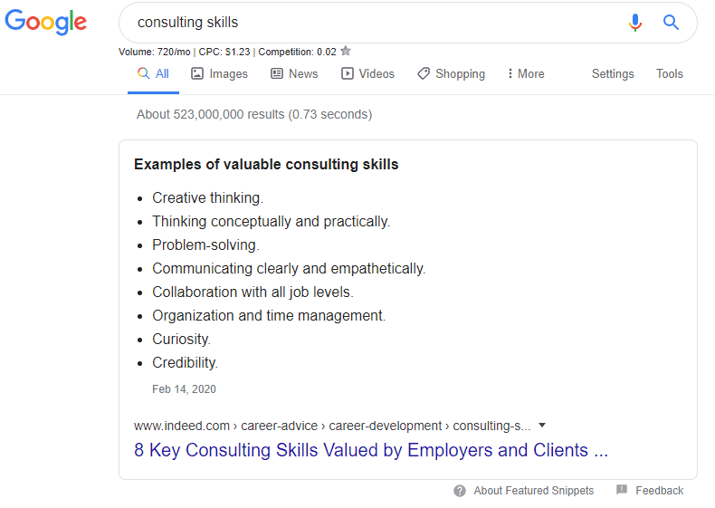 Google search results showing skills and traits for a target role