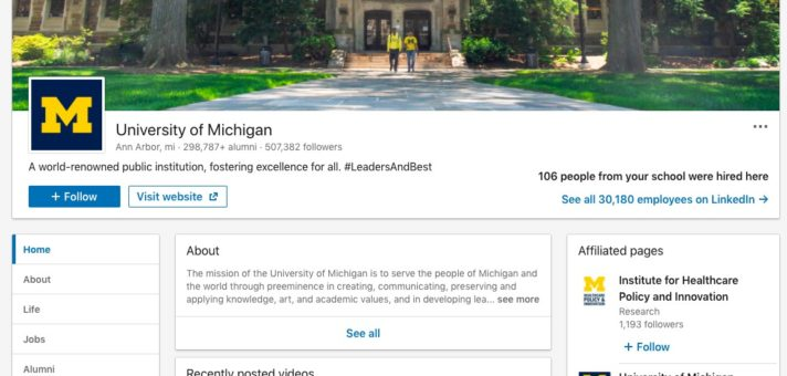 University of Michigan LinkedIn Alumni Page