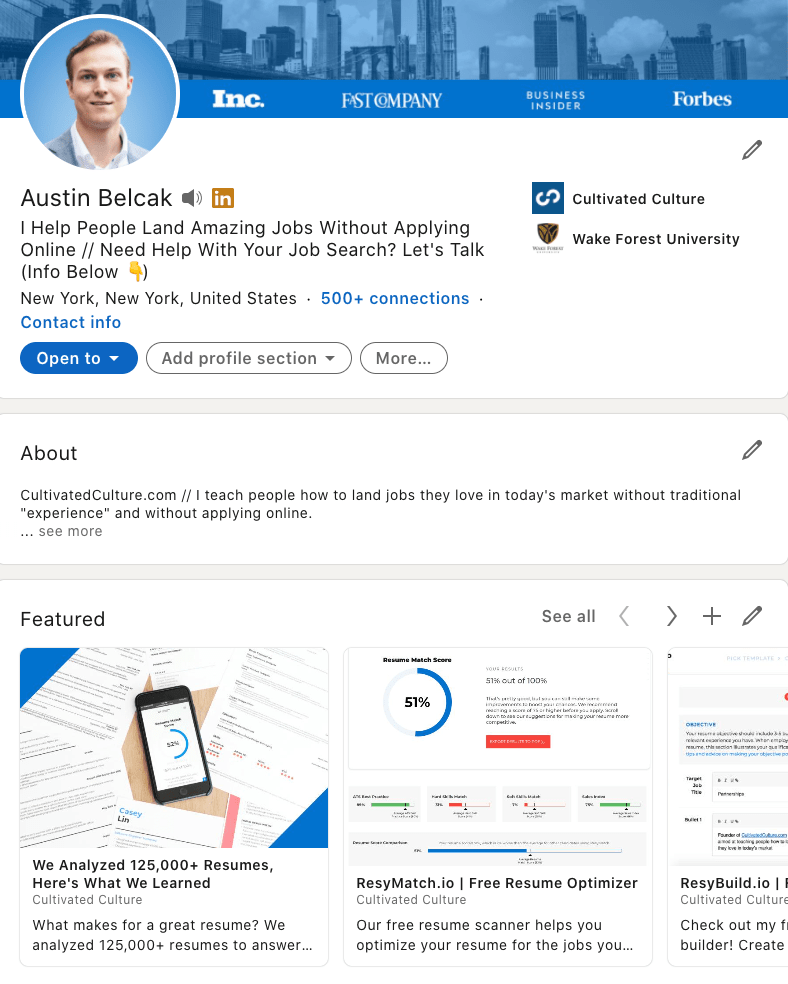 Austin's LinkedIn Featured Section