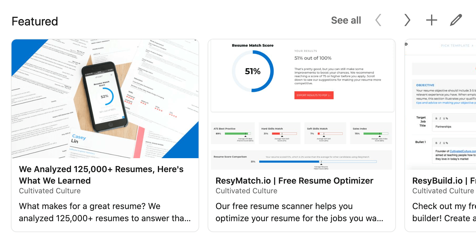 Example of LinkedIn Featured Section