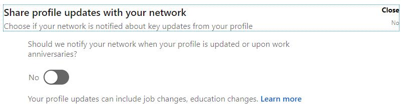 Changing LinkedIn Visibility Settings