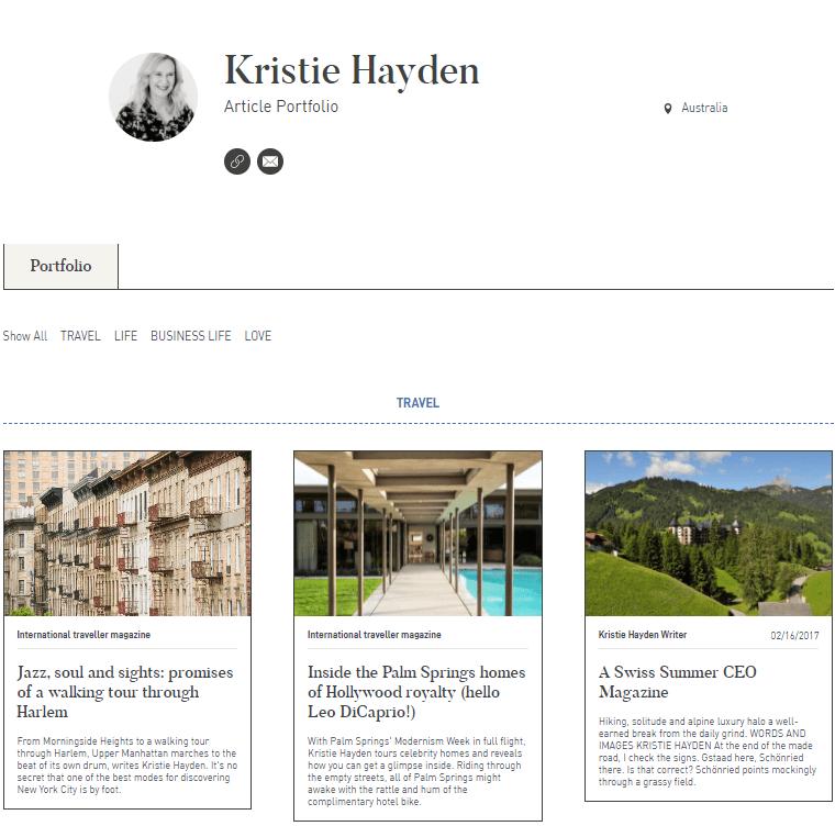 Kristie Hayden Article Portfolio